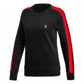Kadın Siyah Sweatshirt Kırmızı Şerit
