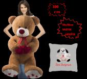 özgüner 100 Cm Bobo Kahve Seni Seviyorum Yastık Köpek Hediyeli