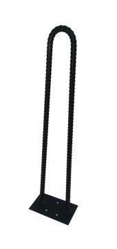 Retro U Tarz Nervurlu Demirden Rustik Firkete Masa Ve Sehpa Ayak Siyah 45 Cm