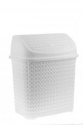örgü Desenli Beyaz Rengi Plastik Klik Çöp Kovası 1...