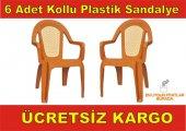 6 Adet Kollu Plastik Sandalye+bahçe Sandalyesi+balkon Sandalyesi