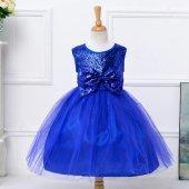 Kız Çocuk Saks Mavi Payetli Prenses Model Kız Çocuk Abiye Elbise 2 14 Yaş Kabarık Model Doğum Günü Elbisesi
