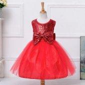 Kız Çocuk Payetli Özel Tasarım Kız Çocuk Abiye Kırmızı Elbise Düğün Doğum Günü Elbisesi Elena