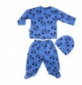 Mavi Panda Desenli Yenidoğan Erkek Bebek 3 Parça Zıbın Set