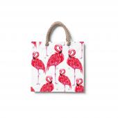 Dijital Baskılı Flamingo Desenli Plaj Çantası Çnt4...