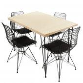 Viluxe Tel Ayaklı Ahşap Masa Sandalye Takımı Beyaz