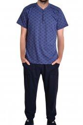 Erkek Pijama Takımı Kısa Kollu Cepli Pamuk