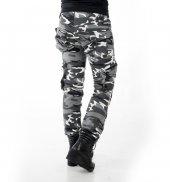 Deepsea Siyah Beyaz Yıkamalı Dar Kesim Ters Cepli Bayan Kamuflaj Pantolon 1621194