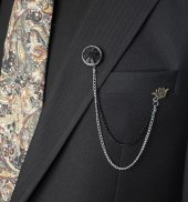 Deepsea Siyah Papatya Taş İşlemeli Ceket Yaka Aksesuarı 1901995