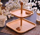 2 Katlı Kare Şekilli Bambu Kurabiyelik Ve Çerezlik