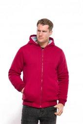 Içi Tüylü Kapüşonlu Feruarlı Kırmızı Erkek Sweatshirt