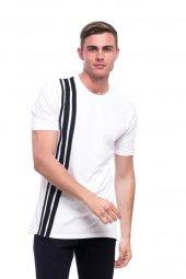 Dikey Çizgi Desenli Biye Kumaş Beyaz Erkek Tişört