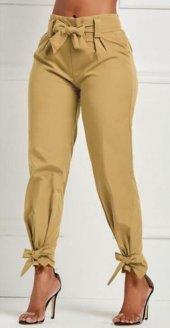 Hardal Renk Kurdale Detaylı Pantalon