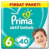 Prima 6 Beden 40 Adet (13 18 Kg) Aktif Bebek Bezi