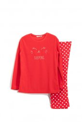 Roly Poly Kadın Kırmızı Sleeping Bunny Polar Pijama Takımı 1399