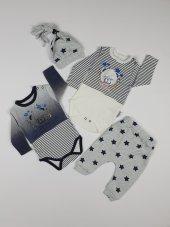 Erkek Bebek Uykulu Ayı Modelli Şapkalı 3lü Takım 3 Ay Lacivert C71210