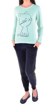 Kadın Pijama Takımı Kadife Uzun Kollu Cepli