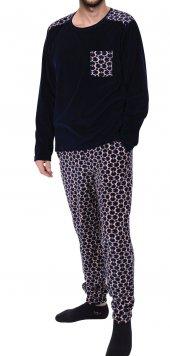Erkek Pijama Takımı Uzun Kollu Kadife Cepli