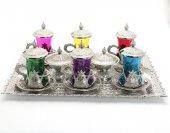 Renkli 6 Kişilik Çay Seti Gümüş