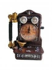 Dekoratif Retro Antik Telefon Şeklinde Masa Saati Kumbara Hediye