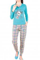 Kadın Pijama Takımı Uzun Kollu Cepli Kapüşonlu Pamuk