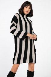 Liplipo Simli Çizgili Likra Elbise