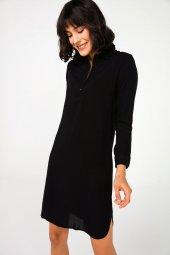 Liplipo Gömlek Yaka Düz Viskon Elbise