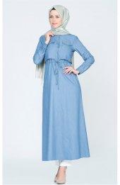 Belden Bağcikli Cepli Elbise 4023 Mavi