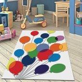 Rugviva Kaymaz Tabanlı Halı Çocuk Kd39 Renkli Balonlar