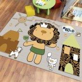Rugviva Kaymaz Tabanlı Halı Çocuk Kd33 Aslan